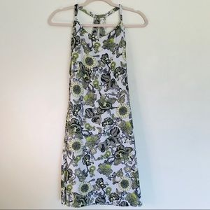 Prana green & white floral paisley print dress